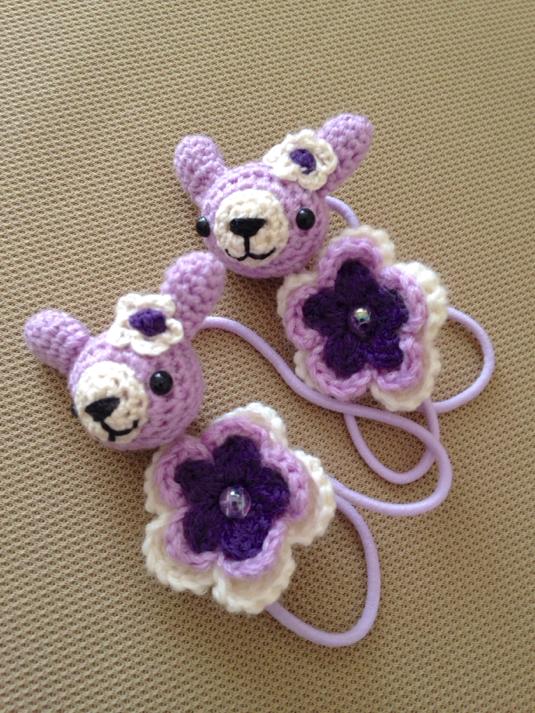 105 うさちゃん お花 ヘアゴム 2個セット 紫