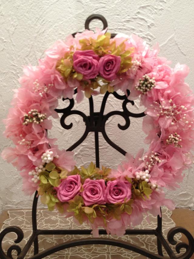 サマーリース?エスプリピンクのバラのリース