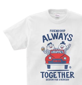 ビーンズマンとレトロ車 Tシャツ150.160(女性M.L) 【受注生産品】