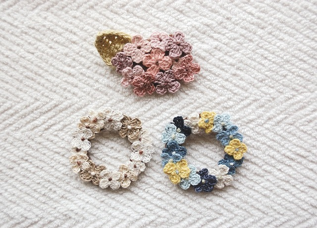 【memetomomoさまリクエスト品】 Flower wreath お花リース&あじさいブローチセット