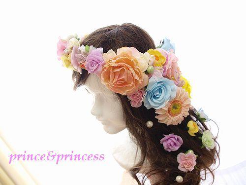 お花いっぱいの花冠*ウエディングヘアー*