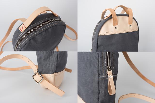 dfc3437456c 職人が作る 帆布×革の組み合わせ 手作りのミニリュック 小型 レディース バッグ かわいい