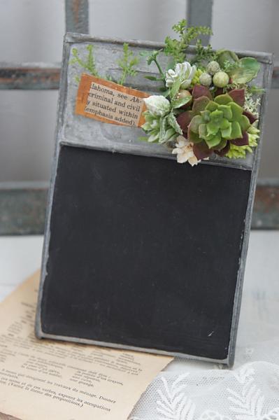 多肉の黒板アレンジ