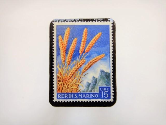 サンマリノ 穀物切手ブローチ945