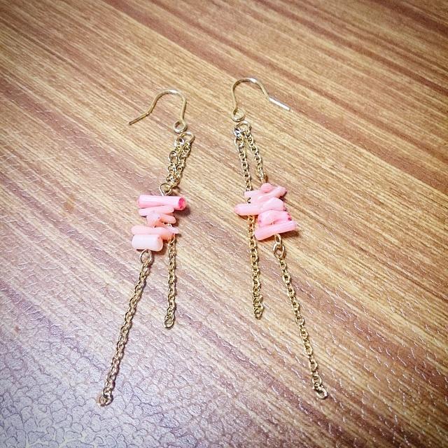 桃色珊瑚☆ゆらゆらピアス