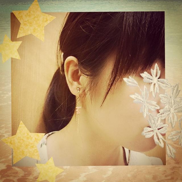 桃色珊瑚☆ゆらゆらイヤリング