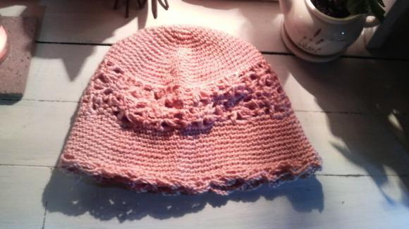 フラワーニット帽[ピンク]