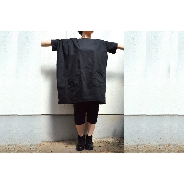 SQUARE ASSYMMETRY TUNIC BLACK (COTTON BROAD)