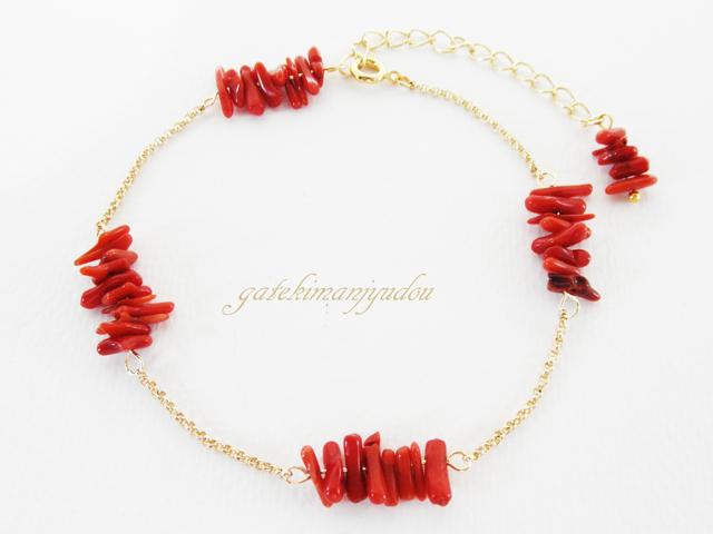 赤サンゴのアンクレット