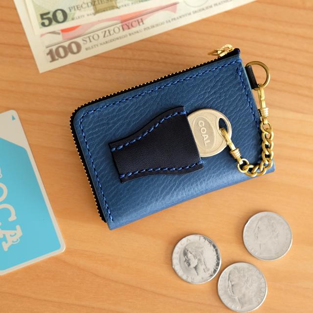 promo code a8b42 013a5 【受注製作】鍵も仕舞える小さい財布BLUEブルー青メンズレディース男性女性  イタリアンレザー左利き変更可キーケース小銭入れ本革プレゼント散歩Lファスナー定期入れパスケースプレゼント