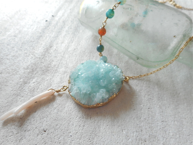 Druzy Ocean Necklace--Aqua Sea
