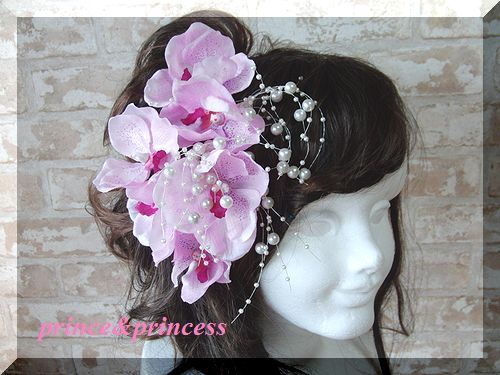 胡蝶蘭の髪飾りのセット