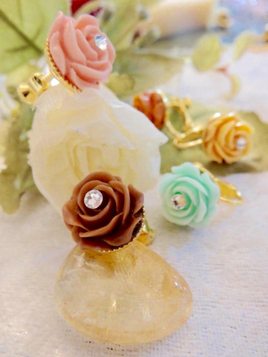 薔薇チョコレートイヤリング