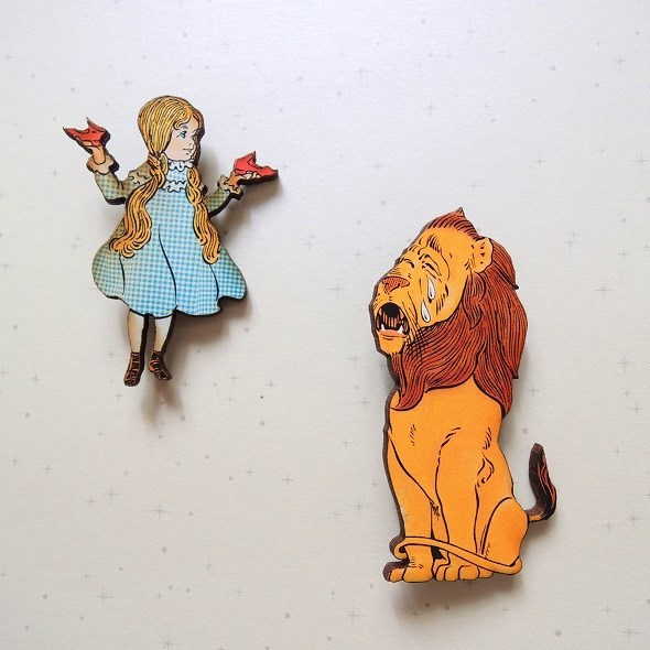 ドロシーと臆病ライオンのブローチセット