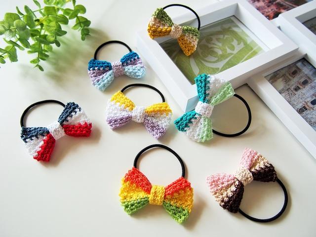 手編みの3色リボンヘアゴム