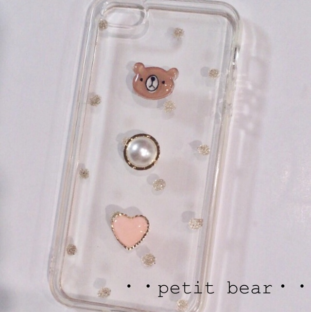 c256475b71 くま☆水玉☆パール☆ハート☆ドット☆プラ板のiPhoneケース☆シンプル☆ゴールドラメ☆クリア☆かわいい