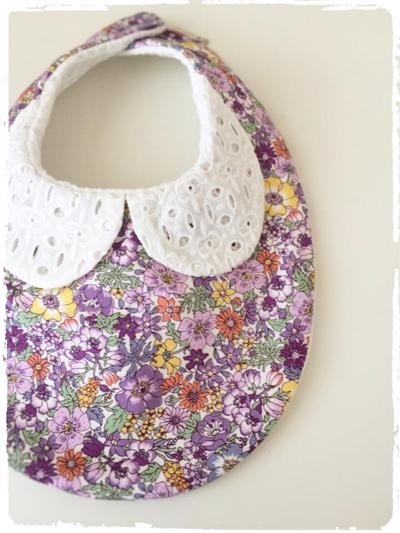 【再販です】かわいいスタイ *刺繍衿×花柄* パープル