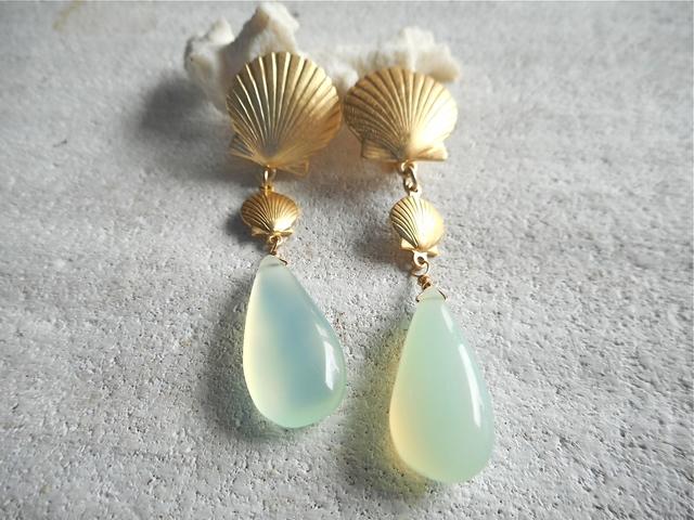 Mermaid earrings〜アクアカルセドニーイヤリング