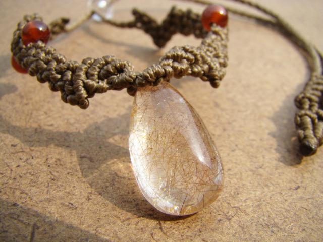 天然石ルチルクォーツとオレンジガーネットの マクラメ編みアンクレット兼ブレスレット