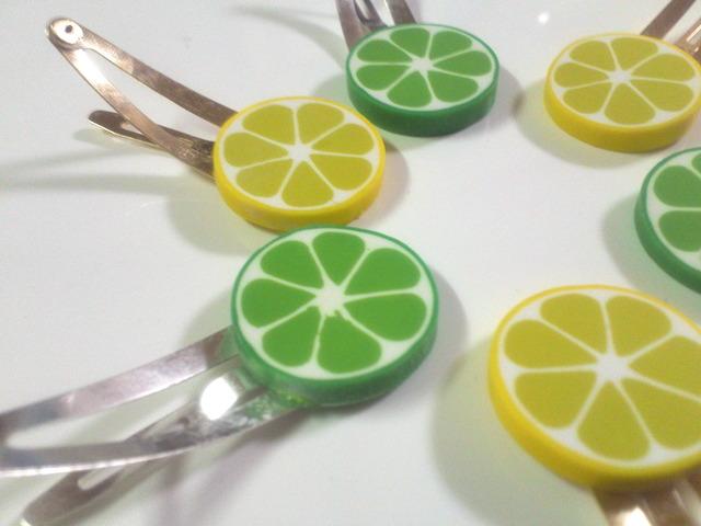 ライムとレモンのパッチンピン(2つセット)