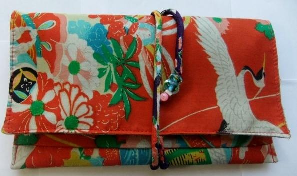 着物リメイク 花柄の着物で作った和風財布 180