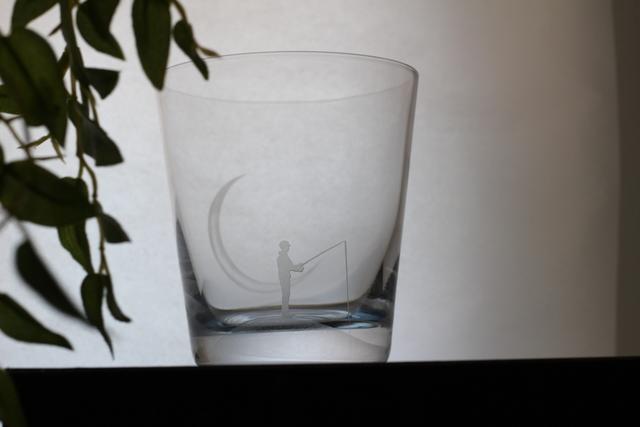 受注製作:三日月夜のさかなつり~不思議な水色グラス〜
