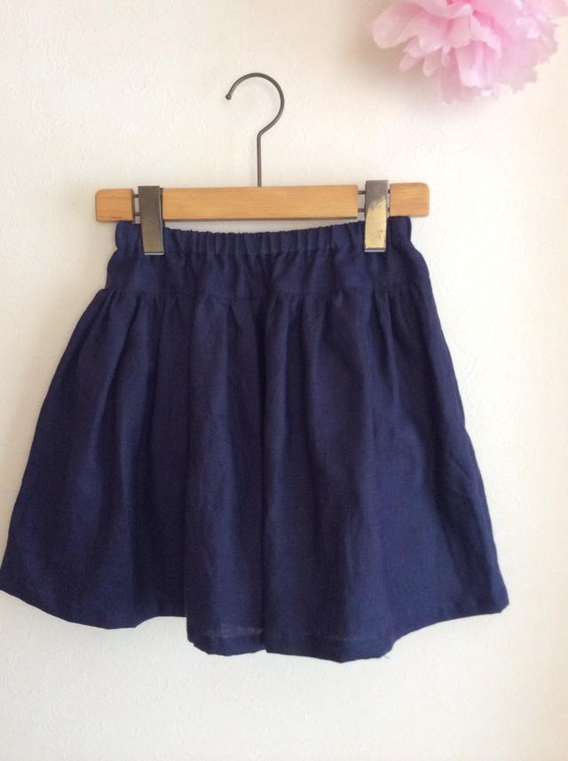 リネン シンプルギャザースカート for girls! 切替short