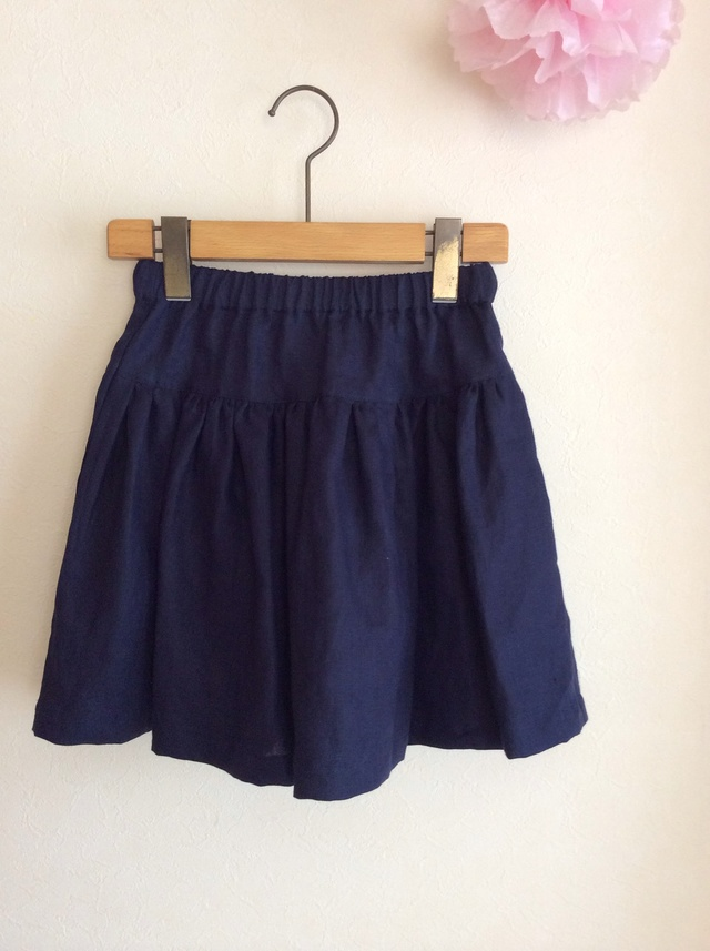 Sale リネン シンプルギャザースカート for girls!切替 long