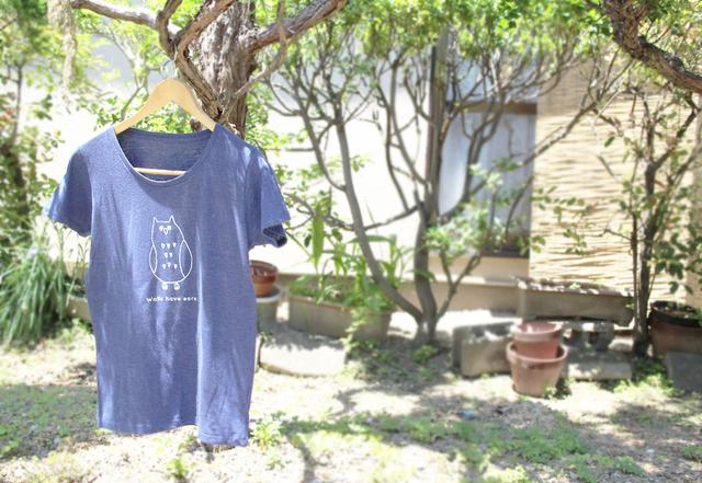 フクロウさんレディースTシャツ(ヘザーネイビー)