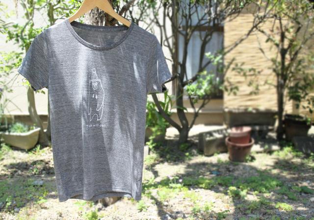 マレーグマさんレディースTシャツ(ヘザーブラック)