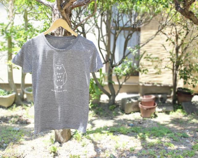 フクロウさんレディースTシャツ(ヘザーブラック)