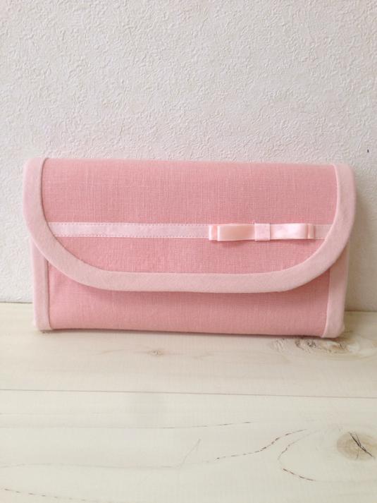 サテンリボンの長財布(ピンク・コインパース2つ・マグネットホック)