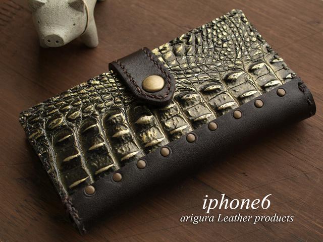 iPhone6/6s牛革レザー手帳型ケース メタリッククロコ型押1