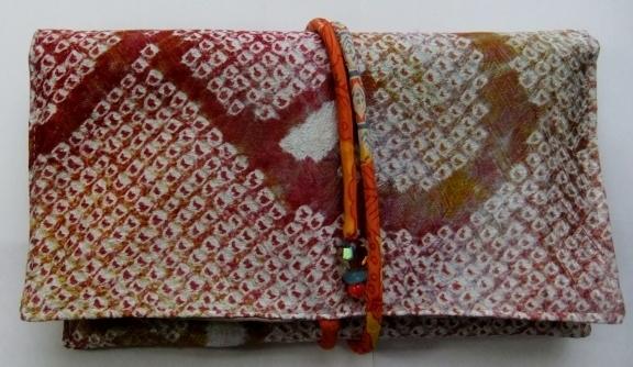 着物リメイク 絞りの羽織で作った和風財布 190