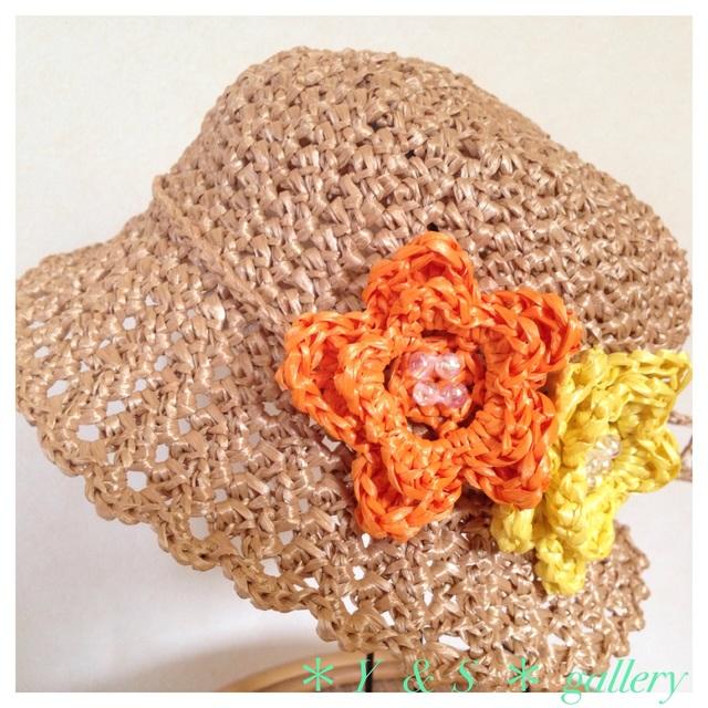 お花が可愛い♪  kidsの麦わら帽子