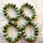 【1連15コセット】JIRI*IVANA czech beads#チェコビーズ bicone12×10㍉/mix mint*green/copper