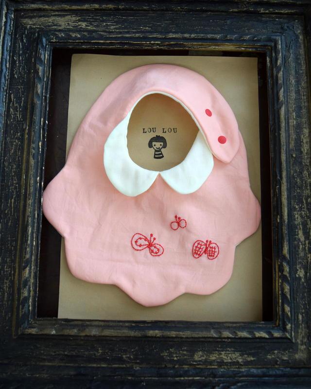 衿付きちょうちょ刺繍スタイ pink pin...