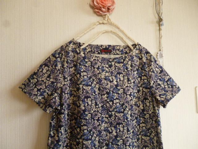 マンセルコレクション綿麻花柄のシンプルAラインワンピース