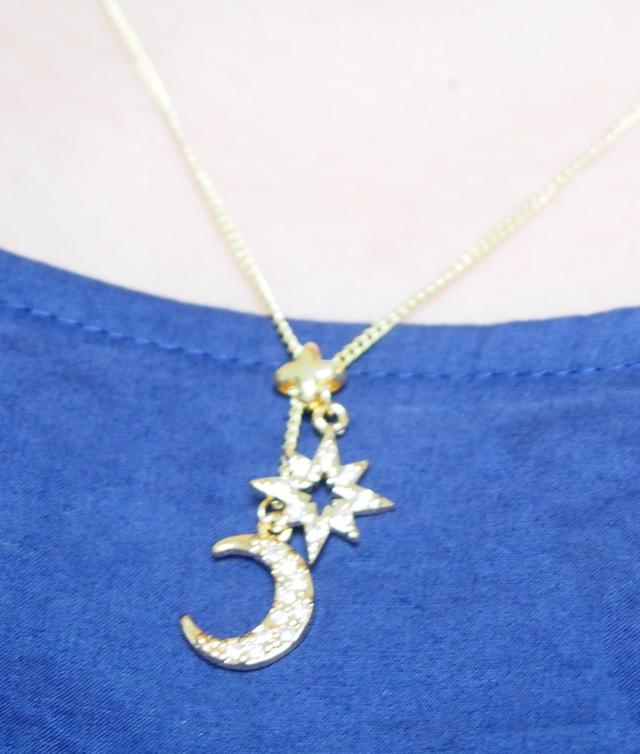 月と星のラリエット ネックレス