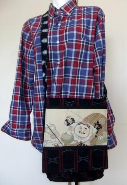 着物リメイク 伊予かすりで作ったショルダーバック 194