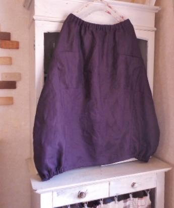 リネン・葡萄色のロング丈バルーンスカート