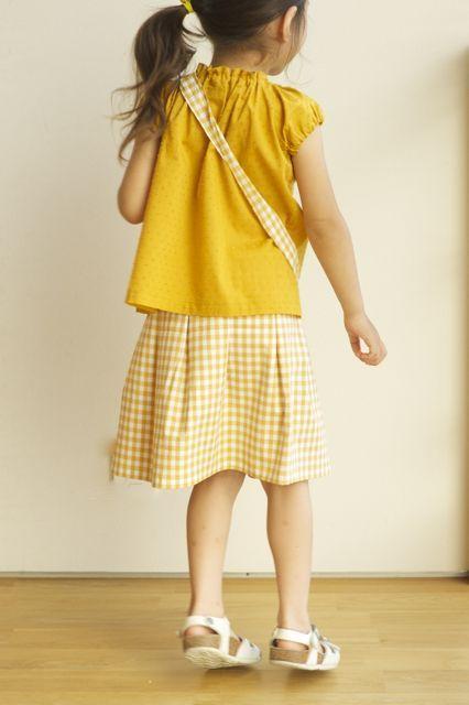 【size100】kidsタック入りギャザースカート(checkからし)