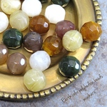 20pcs)Earth color polyhedron beads
