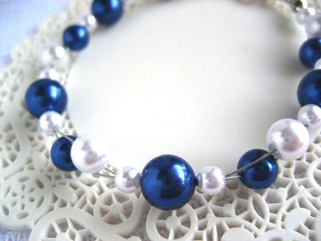 紺×白のマリンパールブレスレット_324