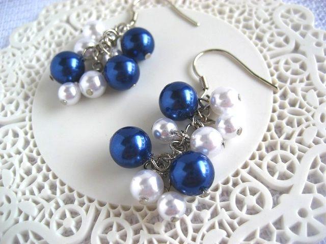 紺×白のマリンパールピアス_325
