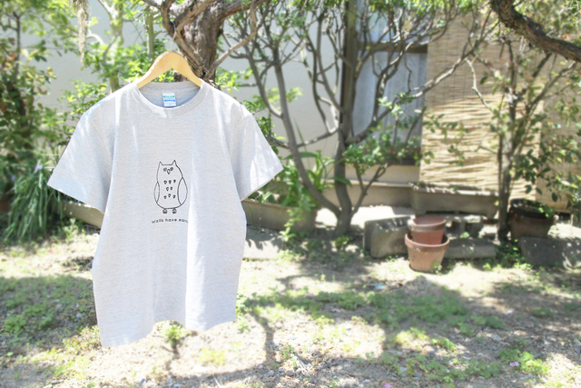 フクロウさんメンズTシャツ(グレー)
