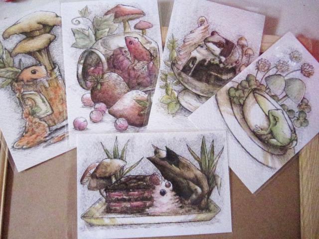 ポストカード5枚セット『カエル×食べ物』