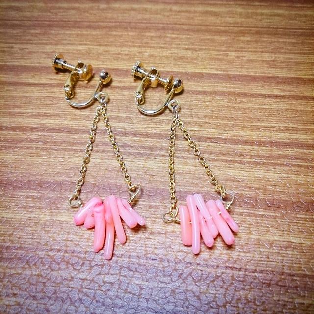 ゆらゆら珊瑚☆ピンクイヤリング
