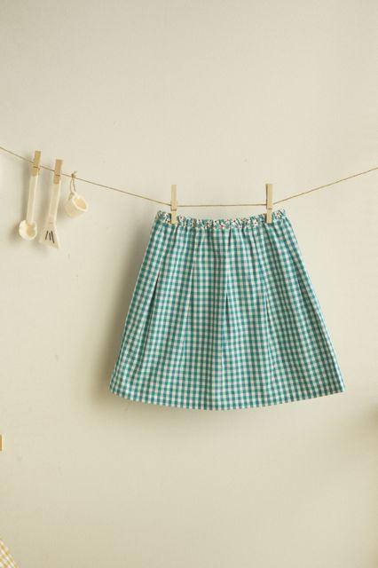 【size110】kidsタック入りギャザースカート(checkターコイズ)