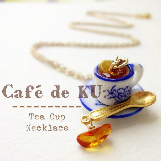 Café de KU:天然琥珀)ティーカップネックレス